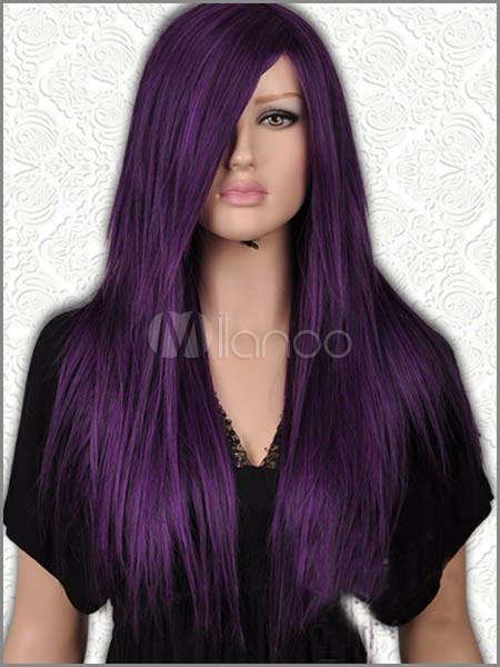 Long Straight Dark Purple Black Mix Wig