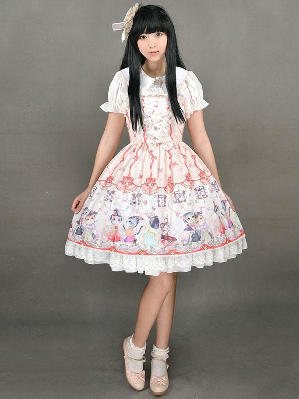 Cute Lolita Dress Sweet Lace Up Chinese Style Circus Cats Print Milanoo Cute Lolita Jumper Skirt