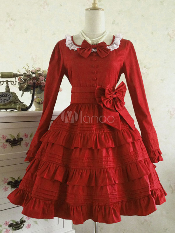 Classic Lolita Dress Red Lolita Dress OP Cotton Long