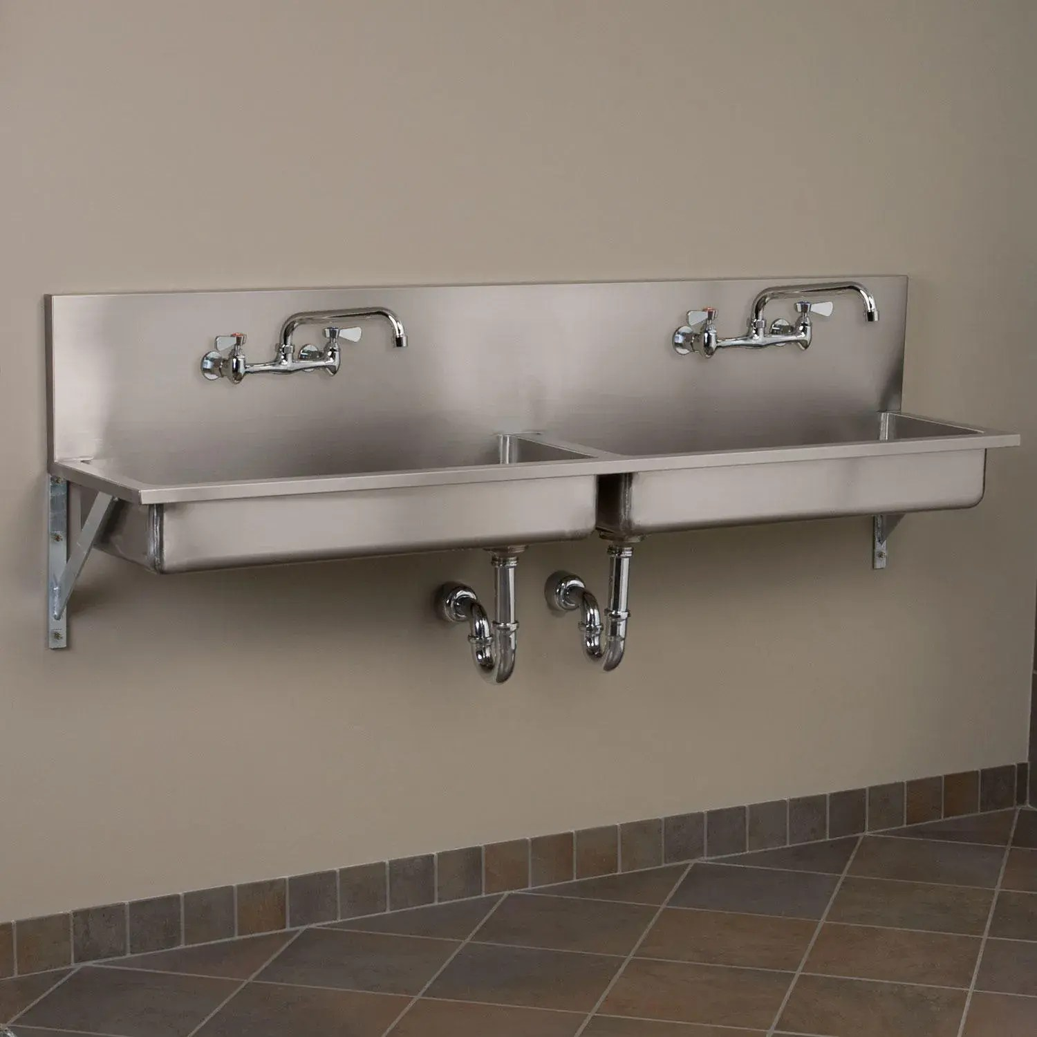 72 double bowl stainless steel wall mount commercial sink
