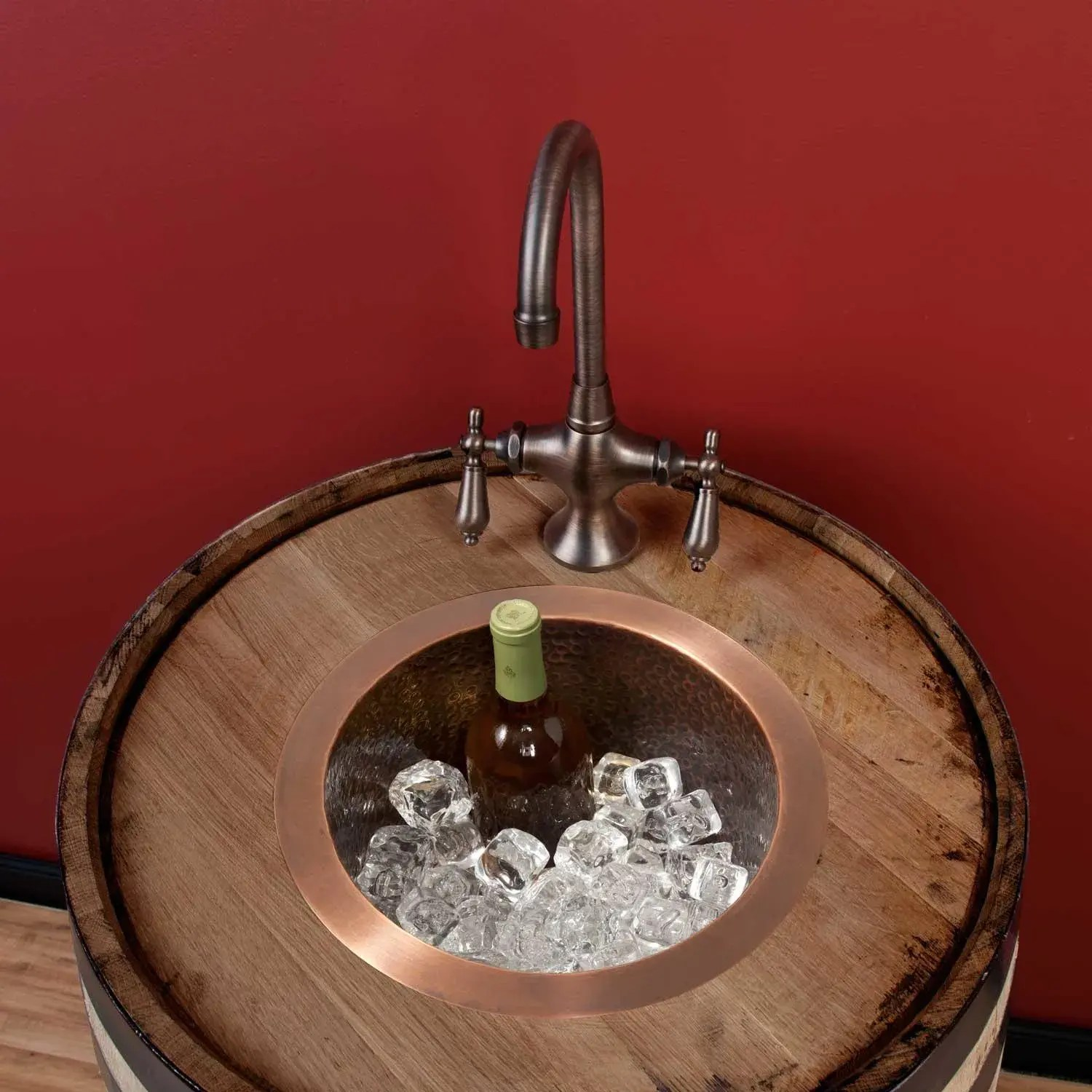 12 creed extra deep hammered copper bar sink