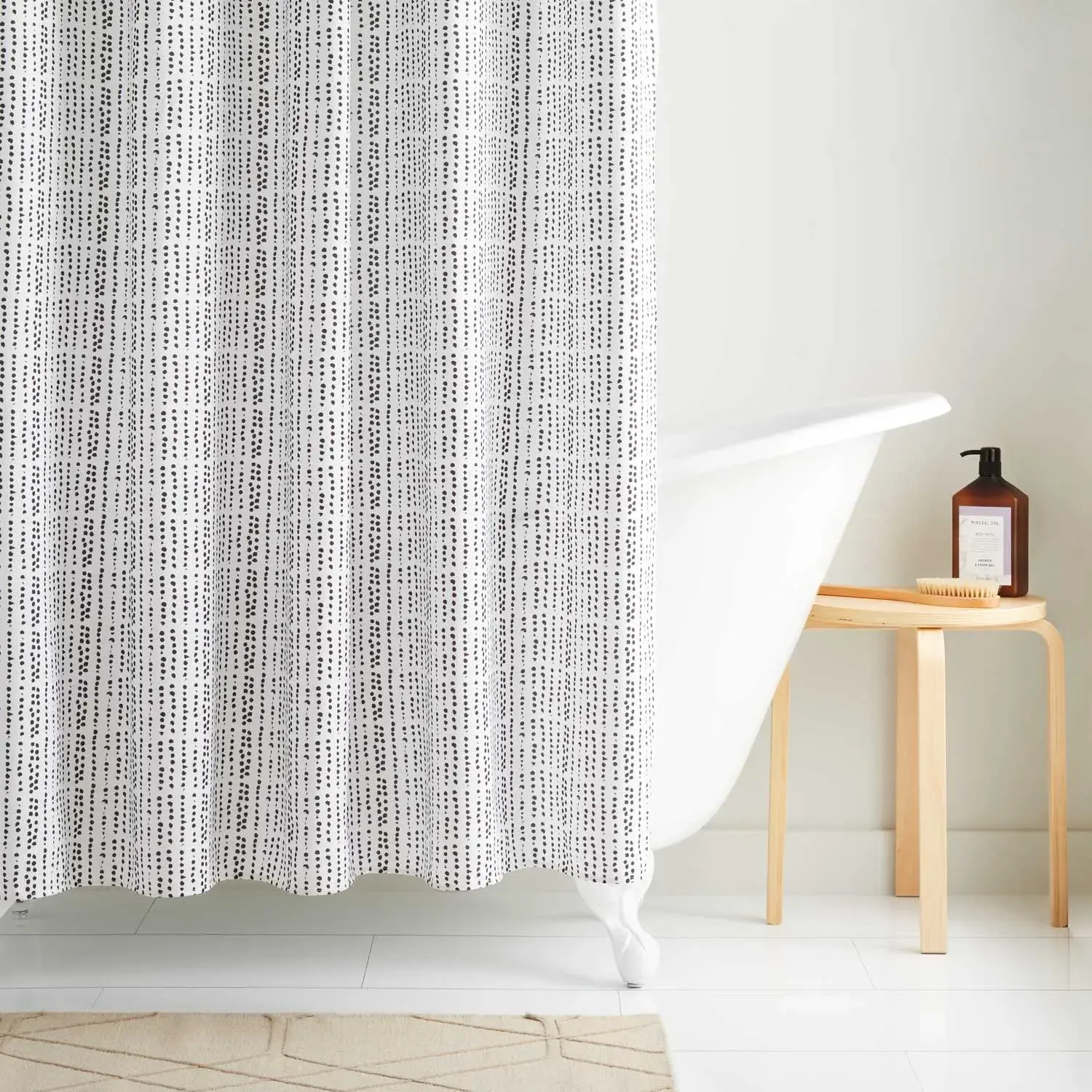 dotted polyester shower curtain