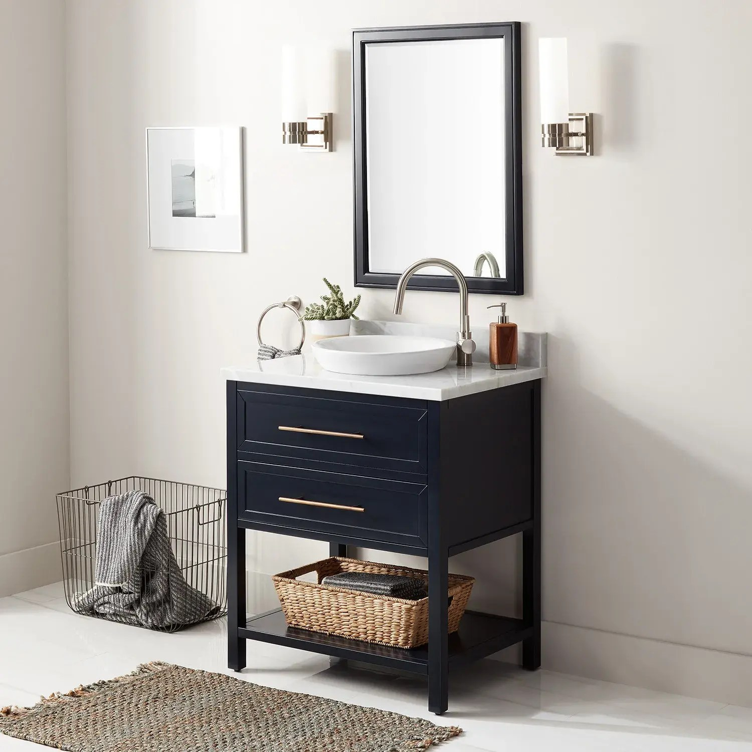 30 robertson console vanity for semi recessed sink midnight navy blue