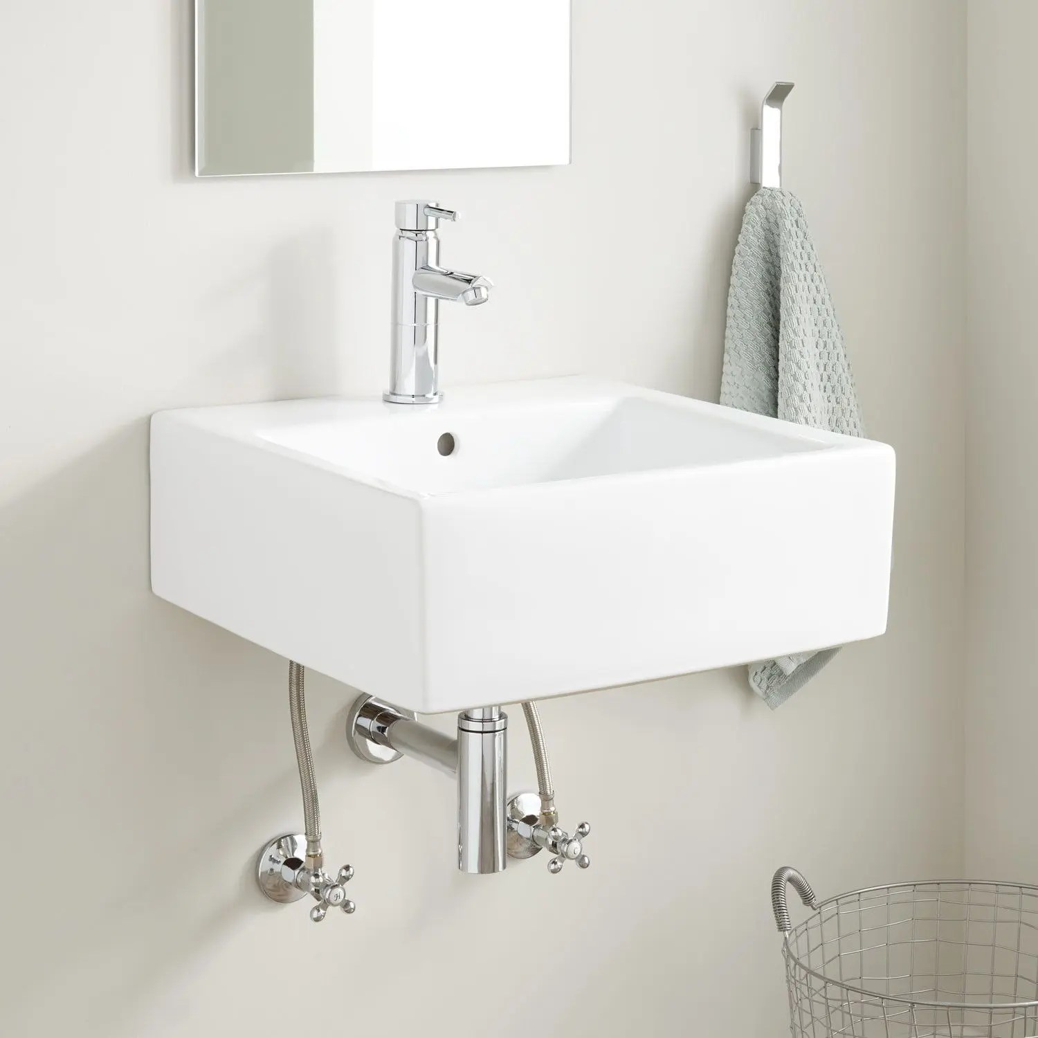 pedro square porcelain wall mount sink