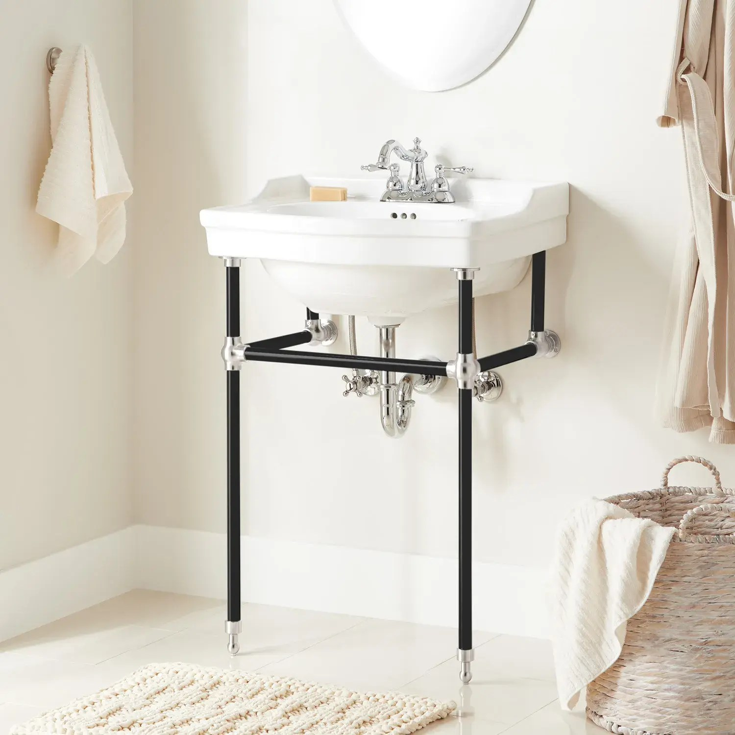 24 cierra console sink with brass stand black chrome