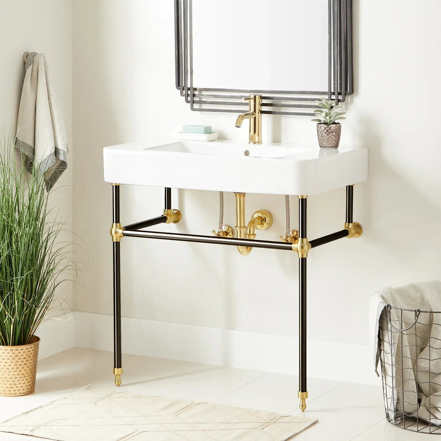 34 burleson porcelain console sink with brass stand black polished brass