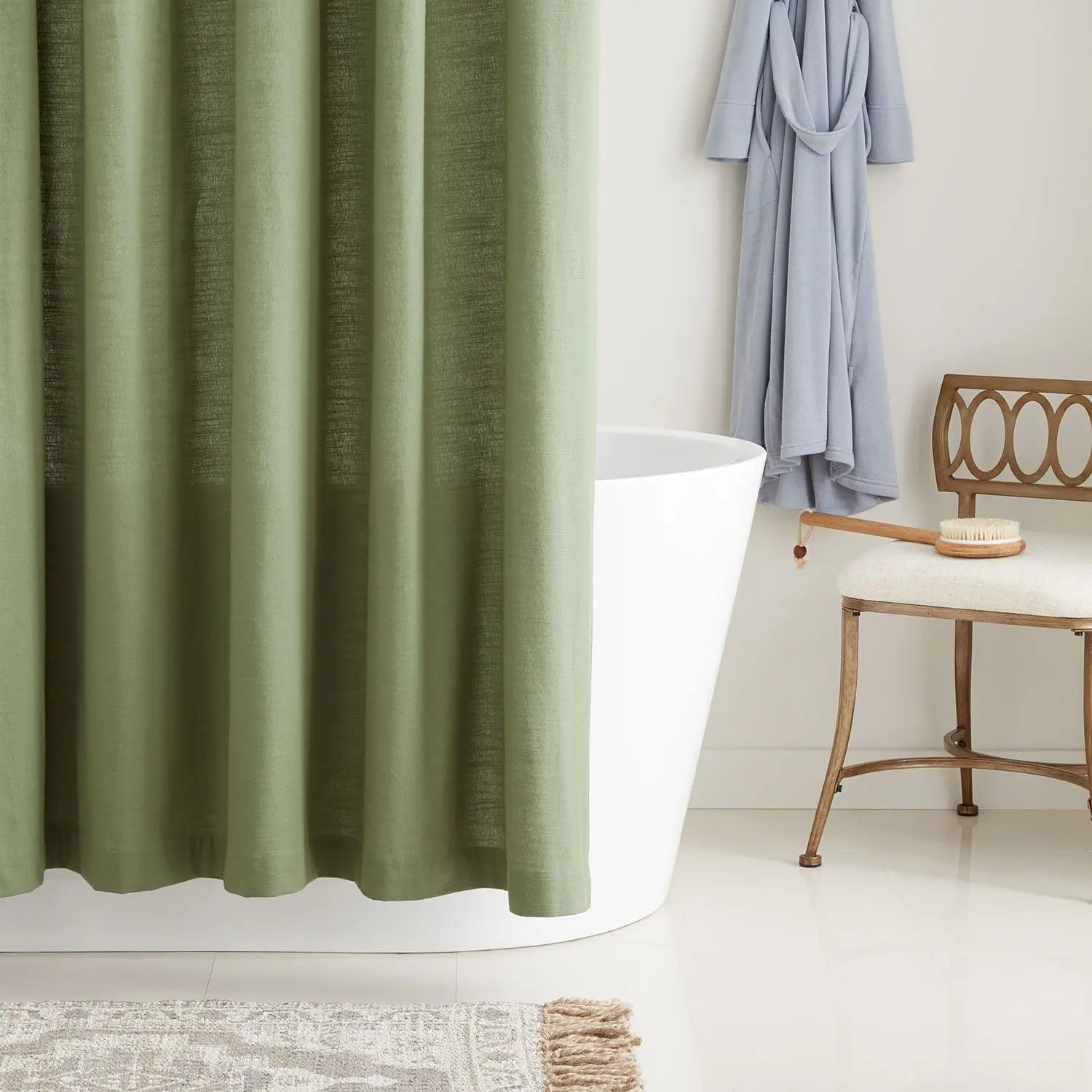 cotton shower curtain olive green