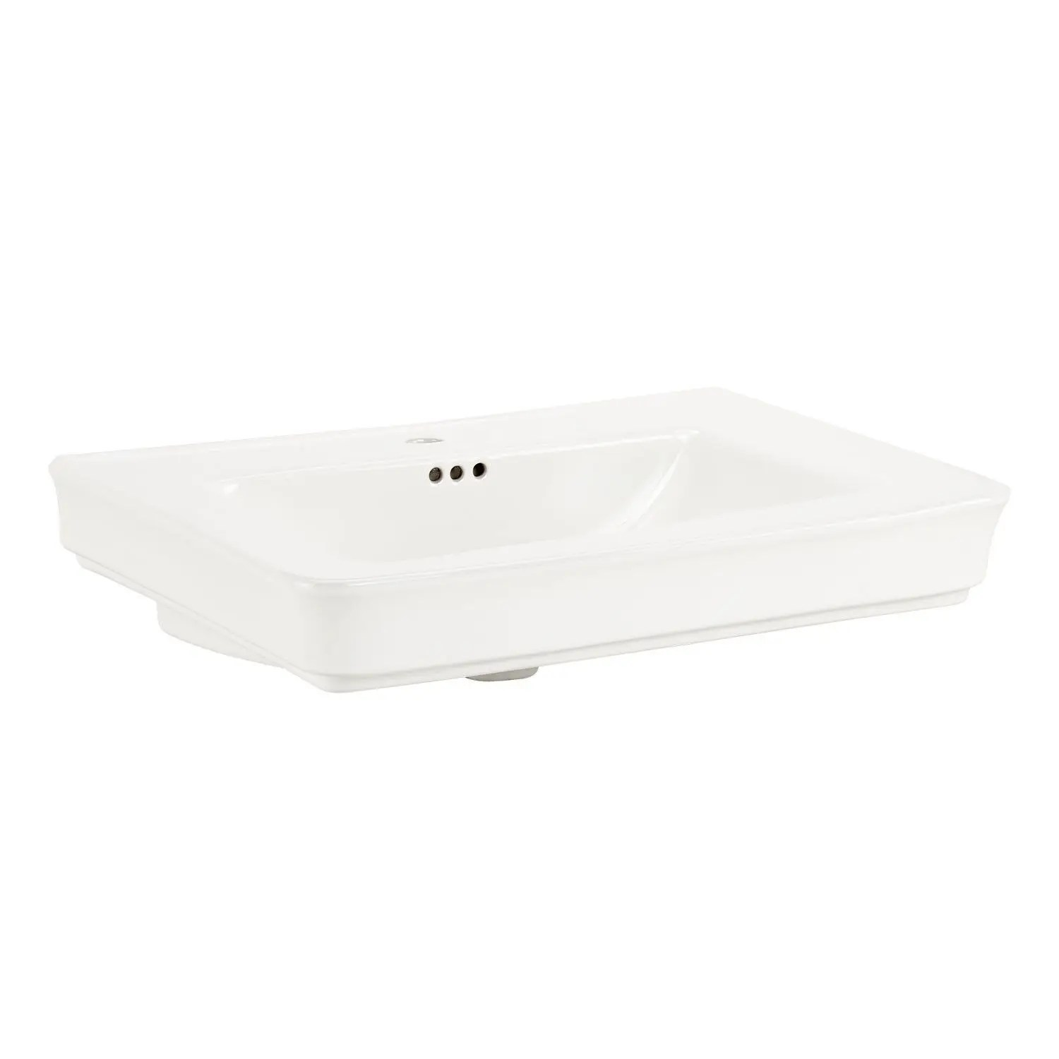 traditional porcelain semi recessed sink