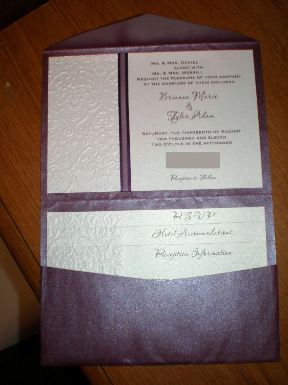 Completely DIY pocketfold invites  Weddingbee Photo Gallery