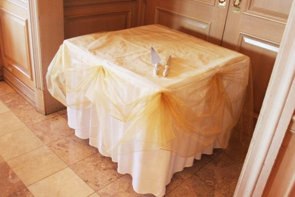 diy organza chair covers bedroom accent chicago cake table decoration | weddingbee photo gallery