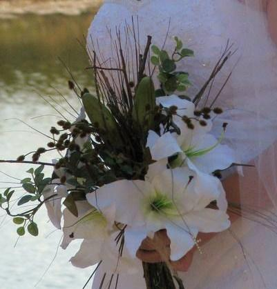 Rustic White Silk Tiger Lily and Twig Bridal Bouquet