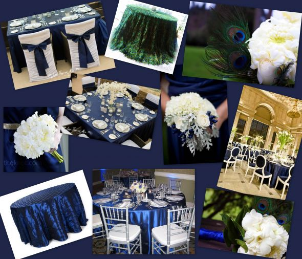 Navy Blue White Silver And Peacock Feather Inspiration
