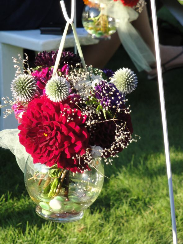 Hanging Flowers In Small Glass Vases Weddingbee Photo