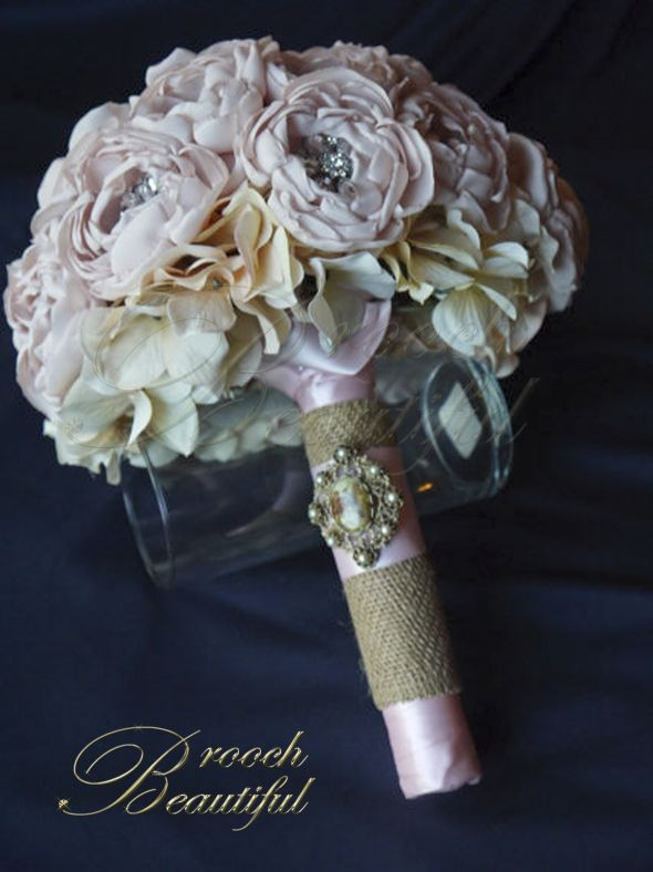Blush Fabric Flower Peony And Brooch Bouquet Custom Made