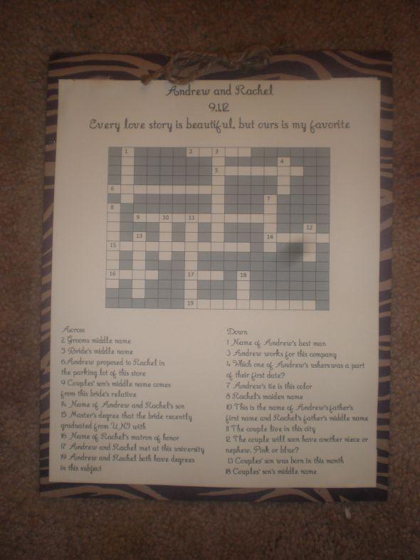 DIY Crossword Puzzles Weddingbee Photo Gallery
