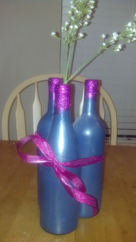 My DIY Spray painted wine bottle non floral Centerpieces