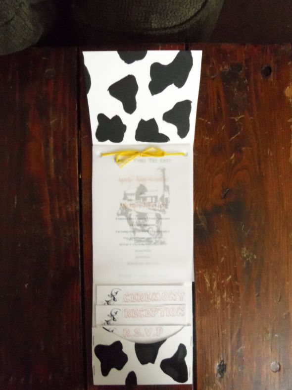 my diy cowfarm themed invitations  Weddingbee Photo Gallery