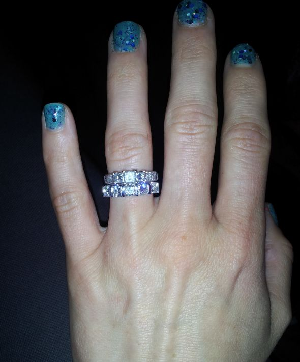 Show me your Diamond wedding band that is LARGER than Engagement Band