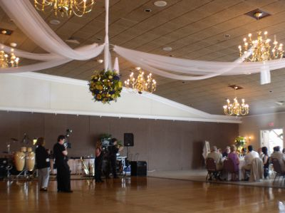 Swap out tulle for white dollar store tablecloths  ceiling decoration