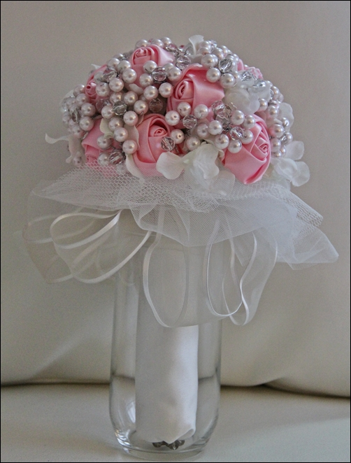 My DIY pearl and crystal bouquet  Weddingbee Photo Gallery