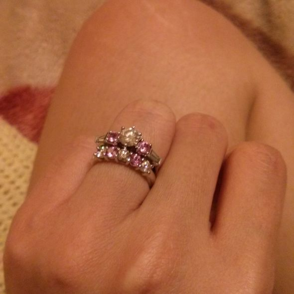 My pink sapphire/diamond wedding ring set