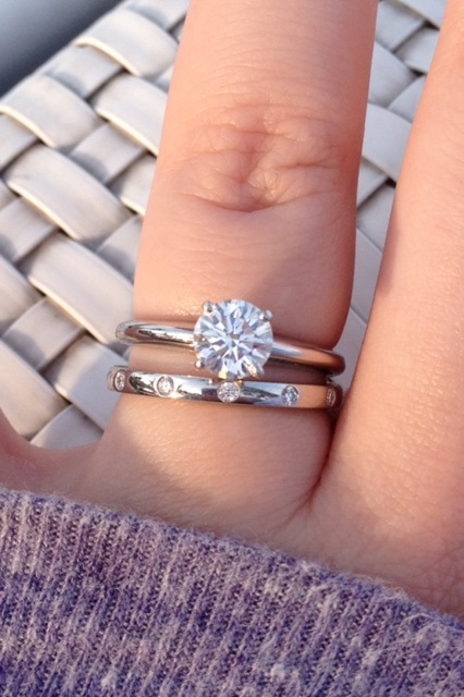 Show me your wedding band with Tiffanystyle solitaire e ring