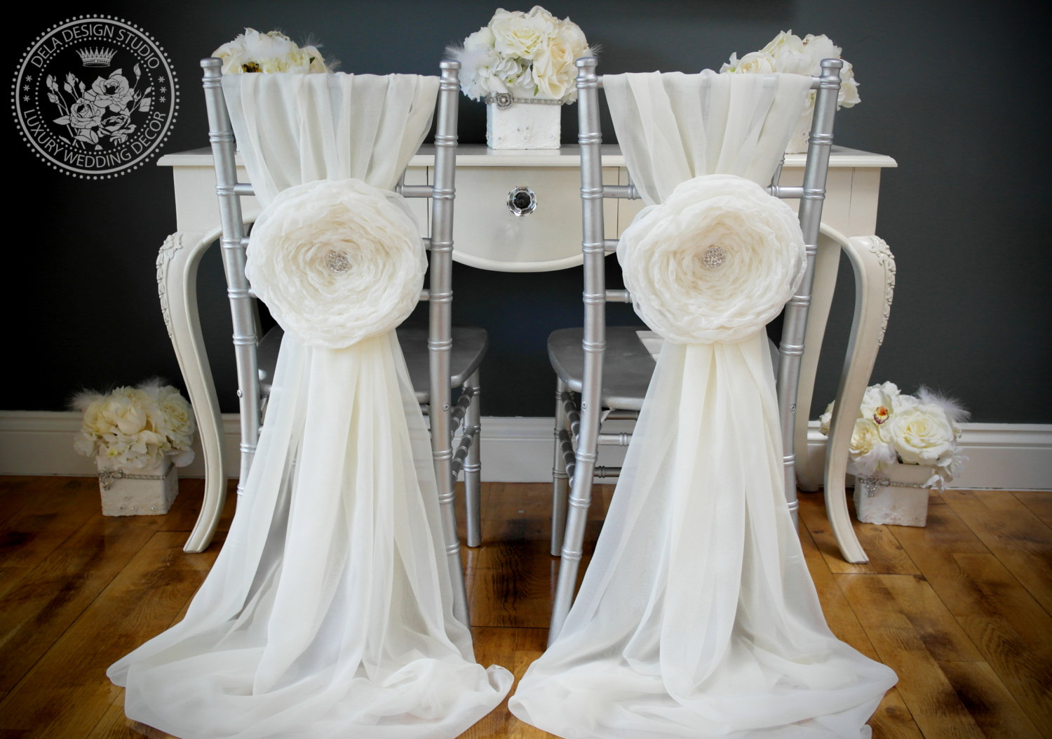 wedding chair sash covers hire hampshire vintage glam white chiffon for receptiondiy