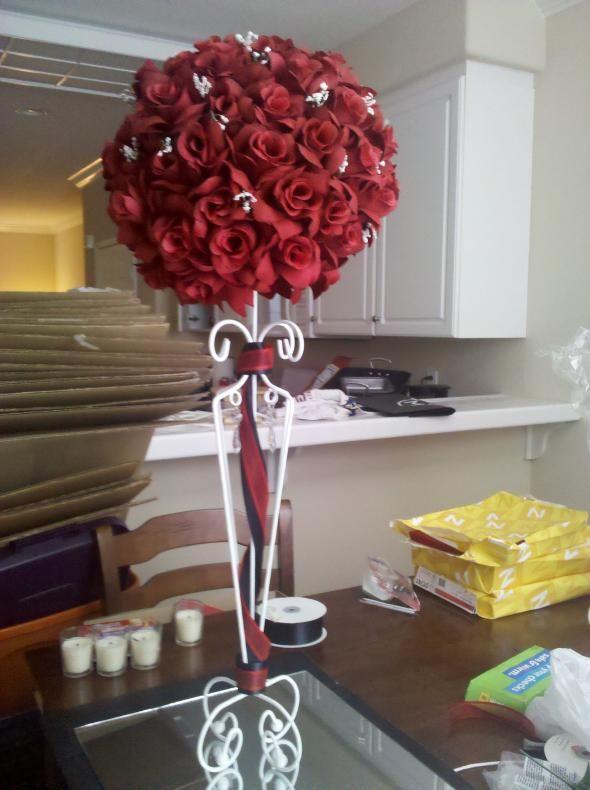 Red Rose Pomanders And Topiaries Weddingbee Photo Gallery