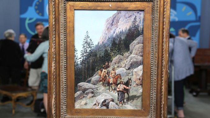 1892 H F Farny Watercolor  Gouache Painting  Antiques