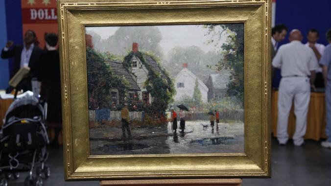 Anthony Thieme Oil On Canvas Quot Rainy Day Quot Ca 1935