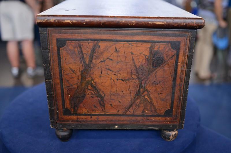 1837 New York Grainpainted Pine Lock Box  Antiques