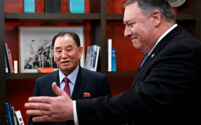 Secretary of State Mike Pompeo, right, and Kim Yong Chol, a North Korean senior ruling party official and former intelligence chief