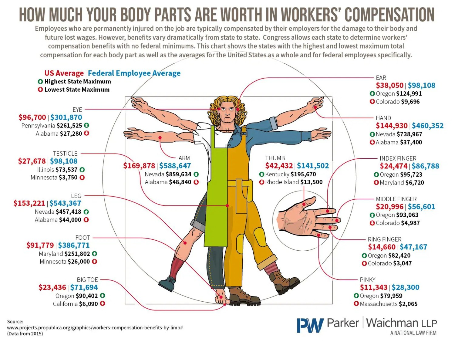 How Much Your Body Parts Are Worth in Workers' Compensation - YourLawyer.com - Infographic