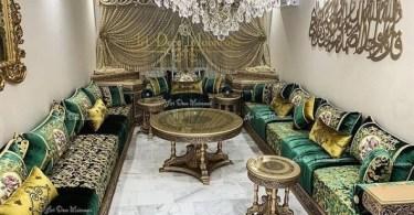 صالونات مغربية باللون الاخضر الملكي
