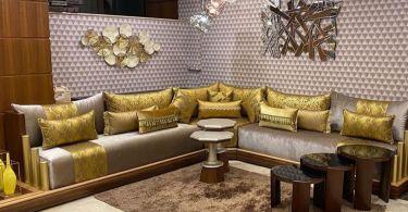 صالونات مغربية باللون الرمادي و الاصفر