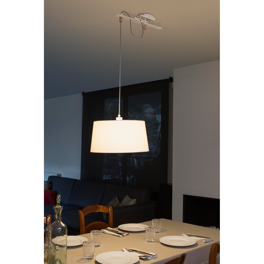 Suspension Fusta Abat Jour Blanc 28394 Faro