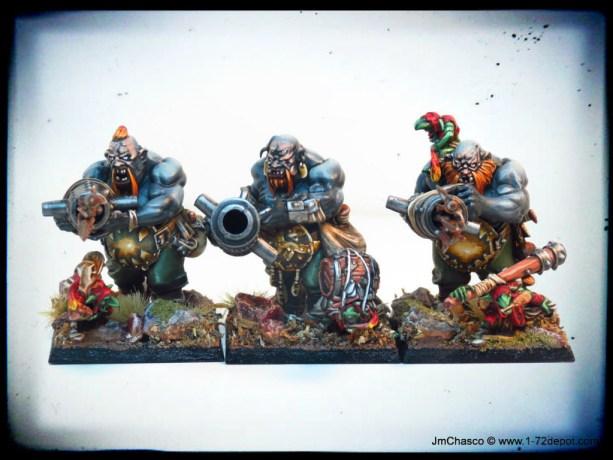 28mm – Games Workshop – Ogre Kingdoms Leadbelchers (KoW Boomers)