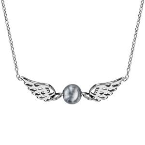 Collier en argent rhodié chaîne avec pendentif ailes d