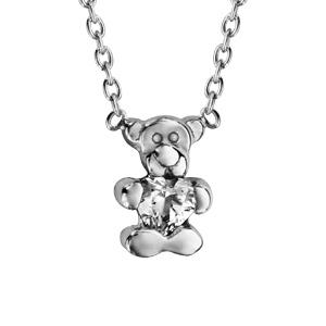 collier pour enfant en argent rhodie chaine avec pendentif ourson tenant 1 oxyde blanc longueur 36cm 2cm de rallonge