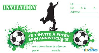 invitation anniversaire foot a imprimer