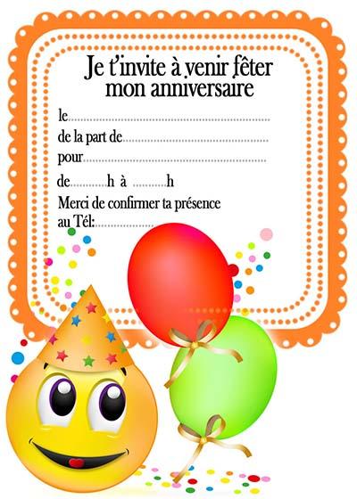 invitation carte anniversaire gratuite a imprimer