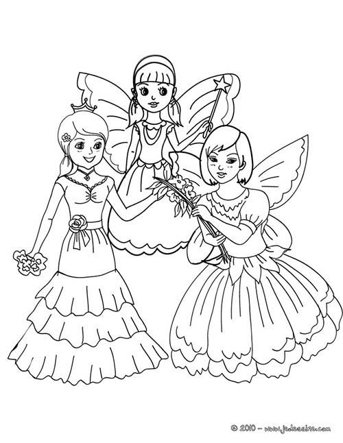 Coloriage CARNAVAL COSTUMES Fees et princesses a colorier