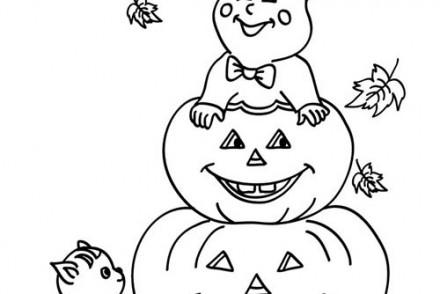 Dessin citrouille d halloween cool coloriage de sorcieres - Coloriage halloween fantome ...