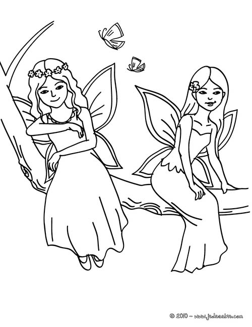 Coloriage FEE fees aux papillons