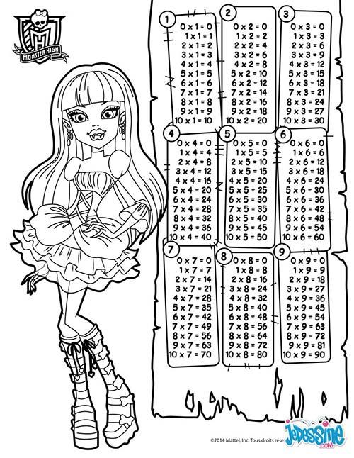 Coloriage a l'ecole Tables de multiplication Monster Hight