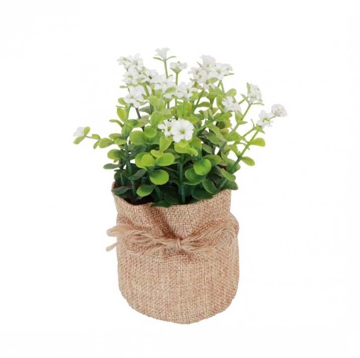 pot en jute avec plantes et fleurs artificielles 7 5 x 16 cm