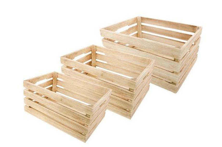 Set De 3 Cagettes En Bois Naturel 1001 Dco Table