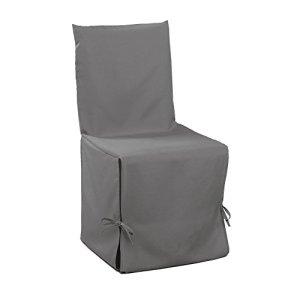 Douceur d'Intérieur Housse de Chaise Nouettes Polyester Uni Essentiel Gris