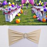 Anne Car stretch Spandex Chaise Ruban de nœuds rubans nœuds pour chaise Housse de chaise mariage Parti Décor avec boucle Champagne
