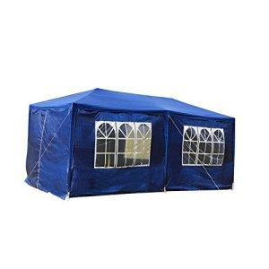 mctech® 6x 3m Lave-vaisselle Tentes Tonnelle Tente de jardin pavillon bière tente tonnelle Lave-vaisselle avec 4parois latérales, 4x fenêtre, étanche PE Bâche Camping tente SG Blau, 6 x 3 m mit 6 Seitenwände